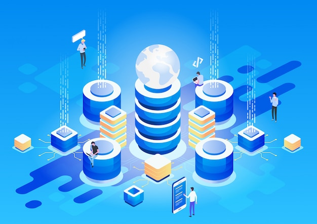Concetto di gestione della rete dati. vettore isometrico