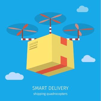 Concetto per il servizio di consegna. consegna drone con il pacco. illustrazione colorata design piatto.
