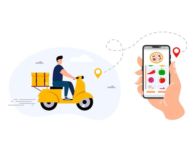 Concetto di servizio di consegna su internetil processo di ordinazione del ciboconsegna a domicilio e in ufficio