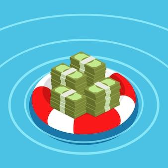 Concetto di assicurazione sui depositi. dollari in salvagente. salvataggio dei soldi. design piatto, illustrazione.