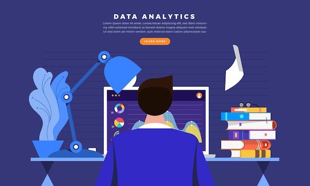 I dati di analisi dell'uomo d'affari di progettazione di concetto sulla scrivania di lavoro guardano all'interno del monitor con il grafico