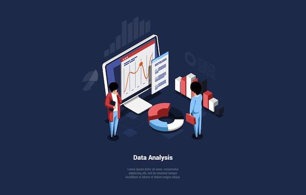 Concept design dell'idea di analisi dei dati. persone in piedi computer con informazioni su grafici e diagrammi schermo