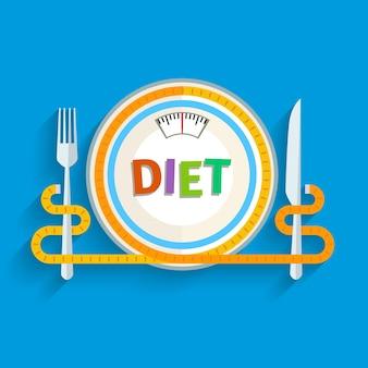 Concetto per dieta, modo di mangiare pianificato, regime nutrizionale. design piatto colorato