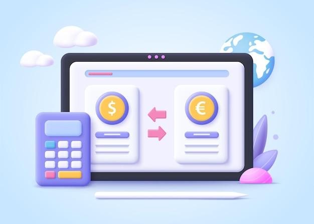 Concetto di cambio di valuta digitale. finanza, mercato monetario digitale, portafoglio di criptovalute, borsa, trasferimento di denaro online. illustrazione vettoriale 3d.