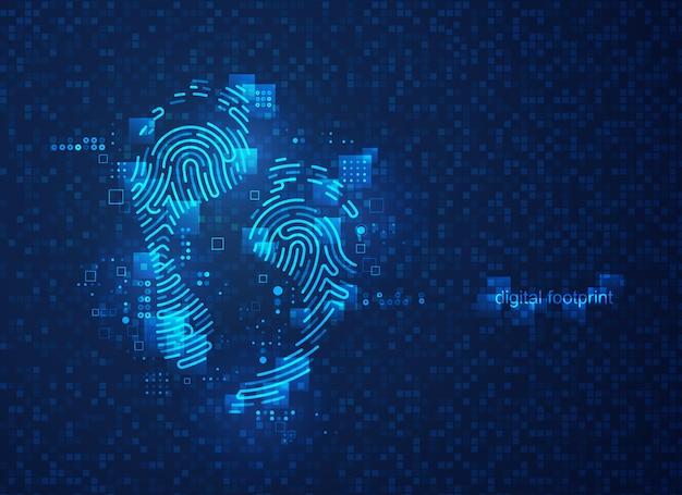 Concetto di impronta digitale, grafica della forma dell'impronta combinata con un modello futuristico e un elemento di tecnologia digitale
