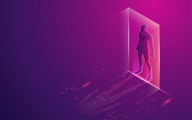 Concetto di trasformazione digitale o intelligenza artificiale (ai), uomo digitale con elemento futuristico come ombra