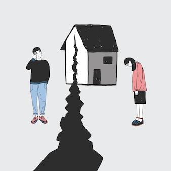 Concetto di divorzio, crepa nelle relazioni, divisione familiare. ragazza e ragazzo tristi dopo la separazione. illustrazione disegnata a mano colorata di vettore.
