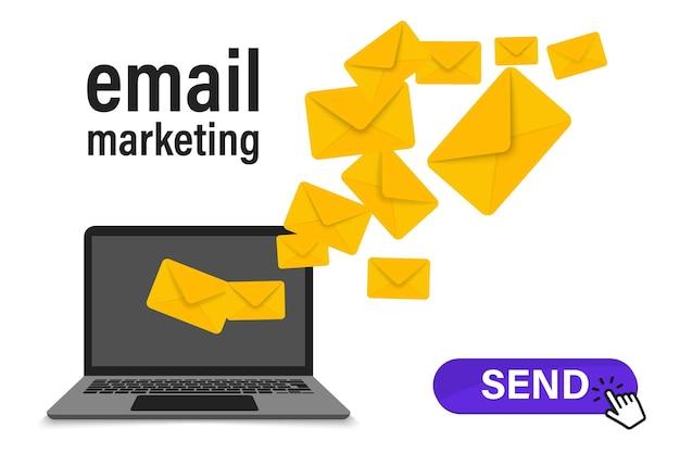 Concetto di campagna di progettazione di e-mail marketing. invio di email dal tuo computer. campagna di email marketing. banner di marketing tramite newsletter. busta e-mail sullo schermo del laptop. invio di email agli iscritti