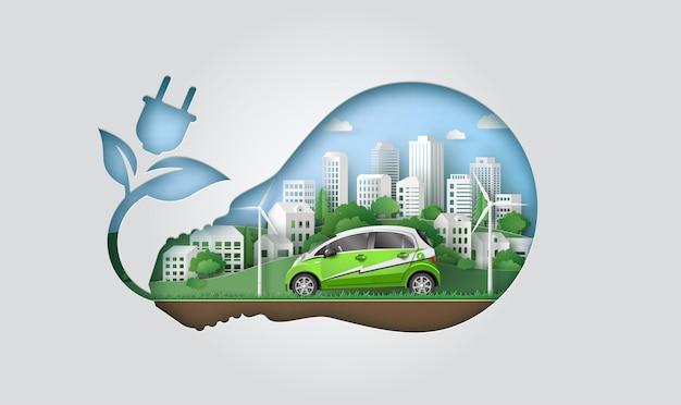 Concetto di eco e ambiente, energia verde con auto elettrica in città, illustrazione di taglio di carta
