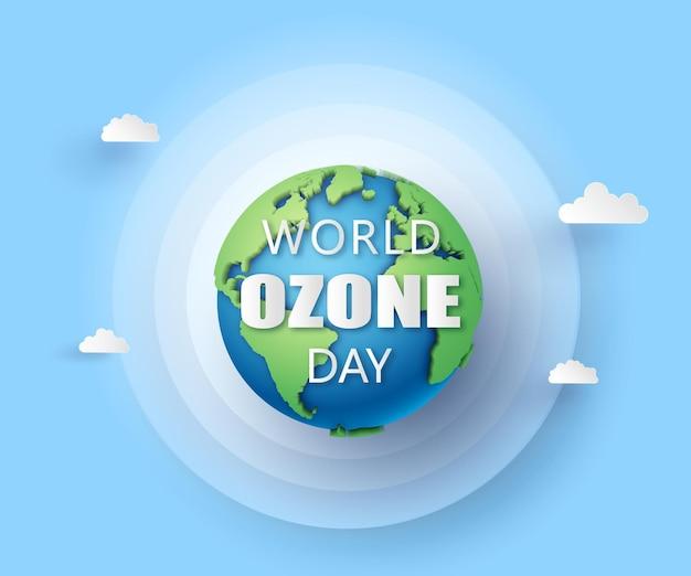 Concetto di eco e giornata mondiale dell'ozono, stile carta tagliata.