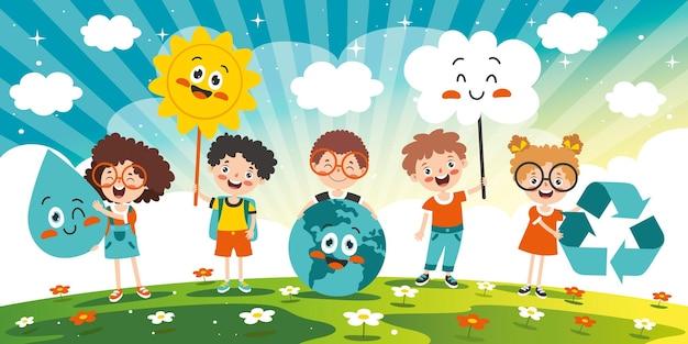 Concetto di ecologia e sostenibilità con cartoon kids