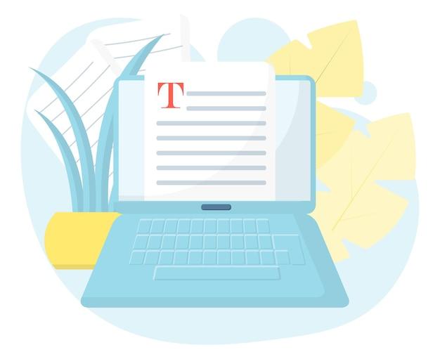 Concetto di documento online modificabile scrittura creativa narrazione copywriting apprendimento online