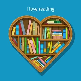 Concetto di educazione. scaffale per libri a forma di cuore.