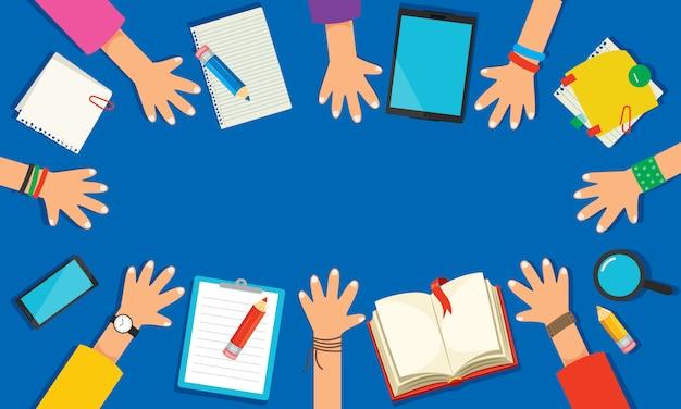 Concetto per l'istruzione o il marketing digitale Vettore Premium