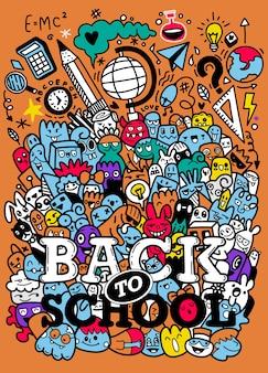 Concetto di educazione. sfondo di scuola con materiale scolastico disegnato a mano con scritte back to school in stile pop art
