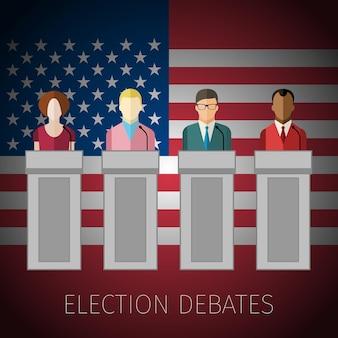 Concetto di dibattiti elettorali o conferenza stampa