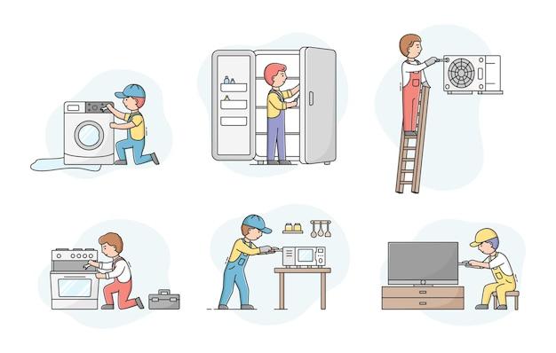 Concetto di servizio di elettrodomestici. set di riparatori di lavoratori professionisti in uniforme, dispositivi di fissaggio. i personaggi riparano gli elettrodomestici da cucina rotti.