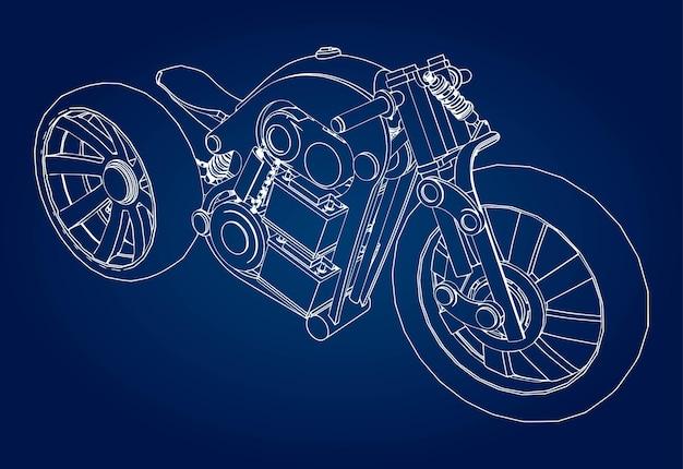 Il concept della moto elettrica del futuro. illustrazione vettoriale in linee di contorno.