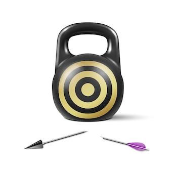 Il concetto di un obiettivo sfuggente irraggiungibile un pesante peso di ferro e una freccia spezzata su di esso