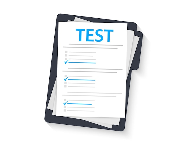 Esame concettuale, sondaggio, test. modulo di prova con appunti. segno di prova su una cartella. esame. superamento del test di conoscenza e dell'esame. test d'intelligenza. sondaggio on-line. lista di controllo, lista di sondaggi su internet, modulo di prova