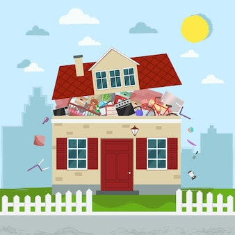 Il concetto di consumismo eccessivo. casa piena di roba.