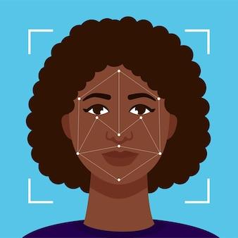 Il concetto di riconoscimento facciale. la persona viene identificata dal sistema informatico.