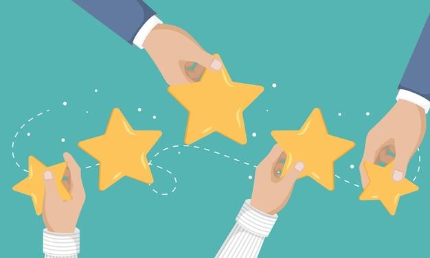 Concetto di feedback testimonianze messaggi e notifiche