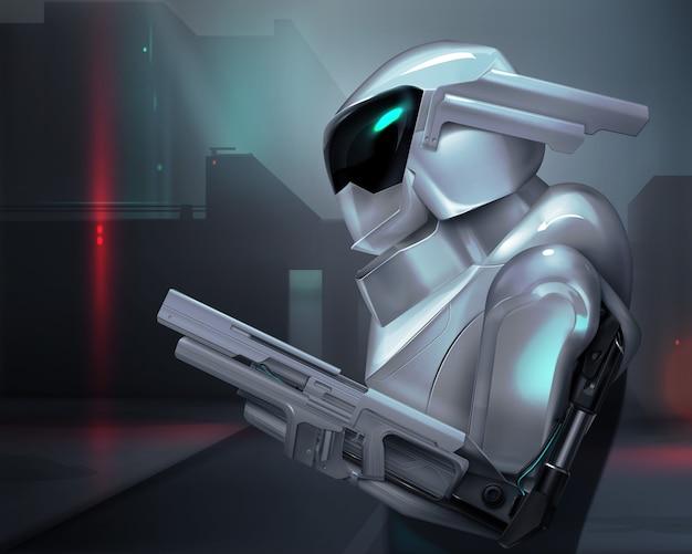 Concetto di poliziotto robot armato immaginario o soldato con sfondo futuristico
