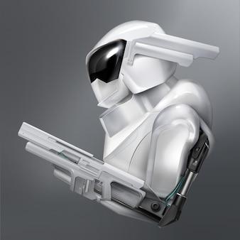 Concetto di poliziotto robot armato immaginario o soldato