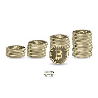 Concetto per la crescita finanziaria. aumentando le pile di monete con l'aumento del grafico.