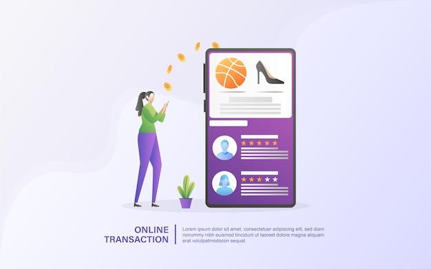 Concetto di transazione finanziaria, trasferimento di denaro, servizi bancari online, portafoglio mobile.