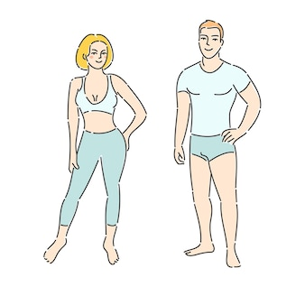 Concetto di forma fisica. uomo e donna di forma fisica su priorità bassa bianca. design piatto, illustrazione vettoriale.