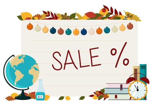 Il concetto di volantino sul tema degli sconti per i prodotti scolastici. carta da lettere sullo sfondo di un foglio di quaderno
