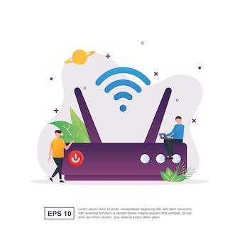Concetto di wifi gratuito per il pubblico o solo per alcune aree Vettore Premium
