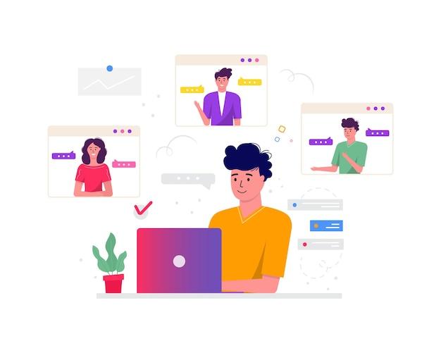 Concetto di freelance, videoconferenza, spazio di lavoro per riunioni online. modelli di progettazione liberi professionisti che prendono con un collega per report, volantini, marketing, volantini, vettore di stile moderno
