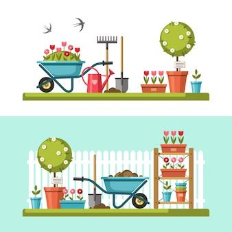 Concetto di giardinaggio. attrezzi da giardino.