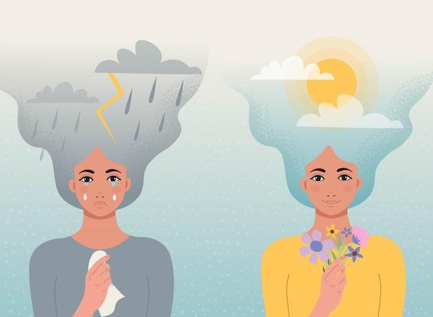 Concetto buono e cattivo umore. una ragazza piange con nuvole, fulmini, pioggia tra i capelli e un fazzoletto tra le mani, un'altra ragazza sorride con nuvole e sole tra i capelli e fiori in mano.