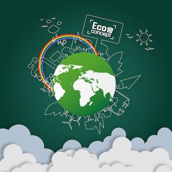 Concetto di eco-terra verde. disegno di arte di carta