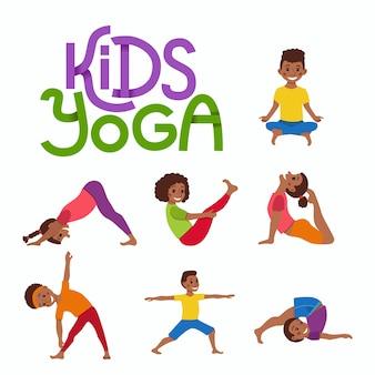 Concetto di bambini felici esercizio pose e asana yoga per il design fitness con logo carino. ginnastica simpatico cartone animato per bambini e illustrazione di sport stile di vita sano.