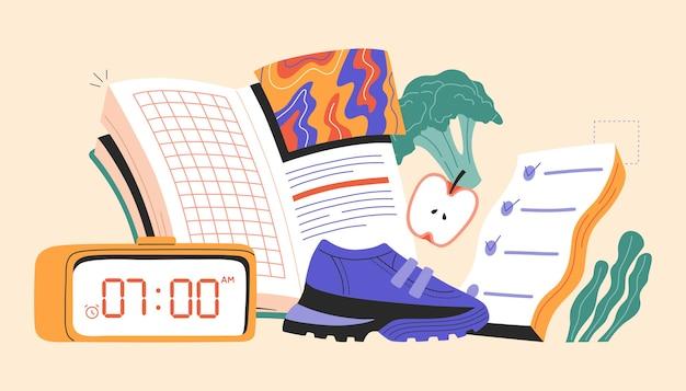 Concetto di abitudini di vita sane, simbolo della routine quotidiana, cibo fresco, dieta, fitness, libro di lettura