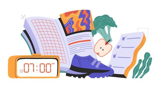 Concetto di abitudini di vita sane con elementi di base della routine quotidiana.