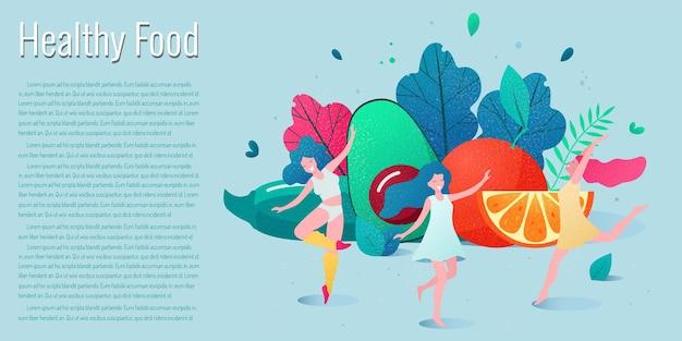 Concetto di stile di vita sano. donne sane e felici che ballano davanti alle verdure
