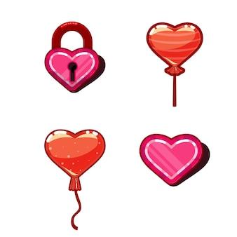 Il concetto del cuore del design del gioco: caramelle, palloncini. amore dell'icona del gioco del cuore 3d
