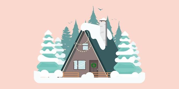 Concept house in un bosco innevato con vista sulle montagne. vettore.