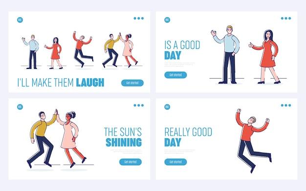 Concetto di emozioni umane positive. pagina di destinazione del sito web.