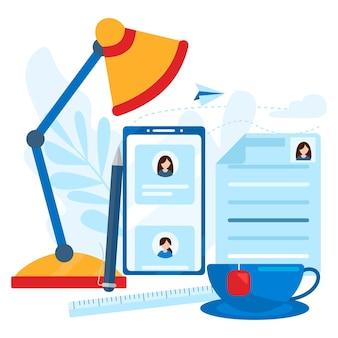 Concetto di risorse umane, scelta, occupazione, cv, ricerca di lavoro, abilità professionale. desktop nell'icona dell'ufficio. concetto di illustrazione vettoriale piatto moderno, isolato su sfondo bianco.