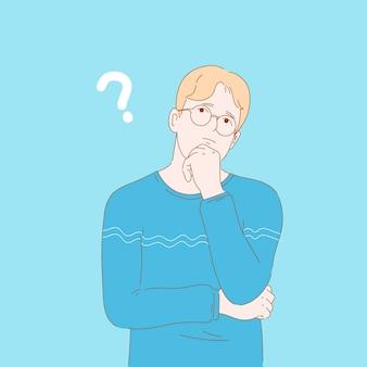Illustrazione di concetto di uomo biondo, ragazzo confuso, pensando, chiedendosi. carattere disegnato a mano