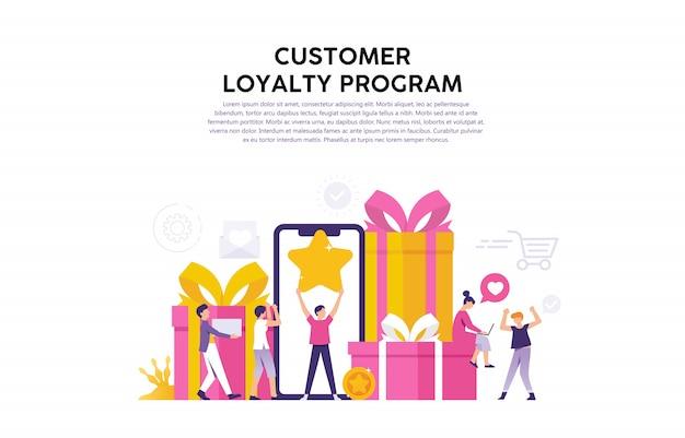 Illustrazione del concetto di programma di fidelizzazione dei consumatori, ricompensa per consumatori fedeli e utenti fedeli