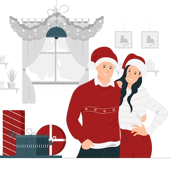 Progettazione dell'illustrazione di concetto di una coppia che celebra il natale insieme