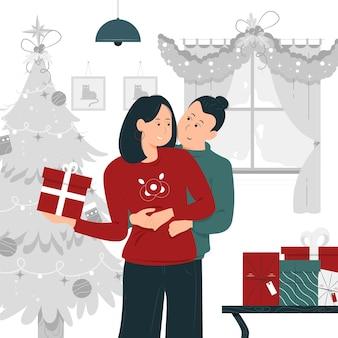 Progettazione dell'illustrazione di concetto di una coppia che abbraccia il natale